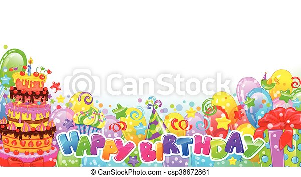 Birthday horizontal composition - csp38672861