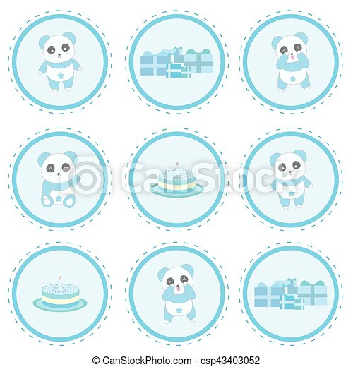 Birthday illustration with cute blue panda, gifts and birthday cake on circle frame - csp43403052