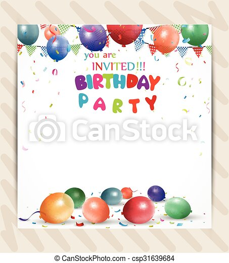 Vector illustration of birthday invitation background clipart birthday invitation background stopboris Images
