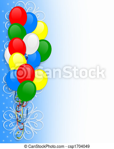Birthday invitation balloons border birthday balloons illustration birthday invitation balloons border csp1704049 filmwisefo