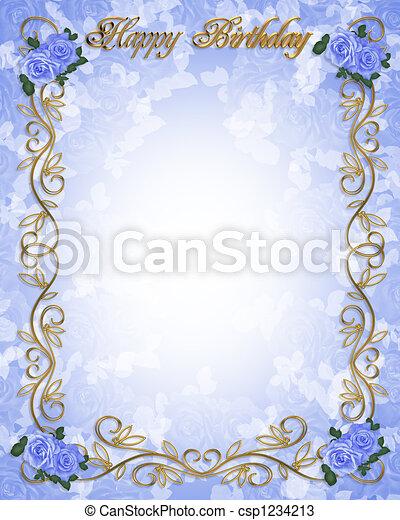 Birthday Invitation Blue Roses 3d Illustrated Roses In Blue Design