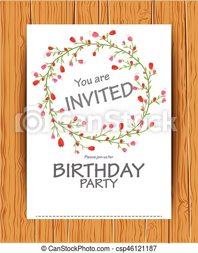 Enjoyable Vector Illustration Of Birthday Invitation Card With Beautiful Flower Funny Birthday Cards Online Fluifree Goldxyz
