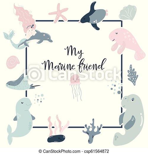 Birthday Invitation Design With Cute Sea Animals