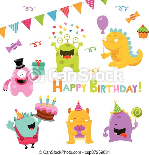 Birthday Monster Set - csp37259831