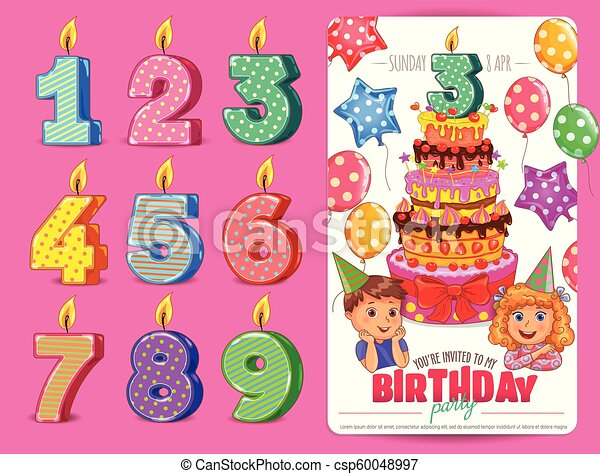 Birthday numbers candle with cute kids and cake Birthday party. - csp60048997