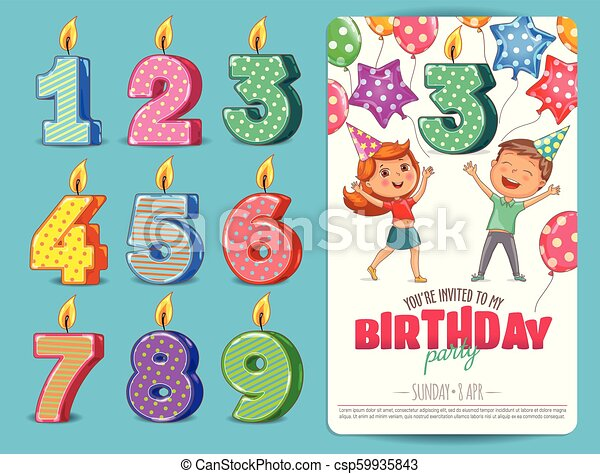 Birthday Numbers Candle With Cute Kids Birthday Party Invitation Card Template