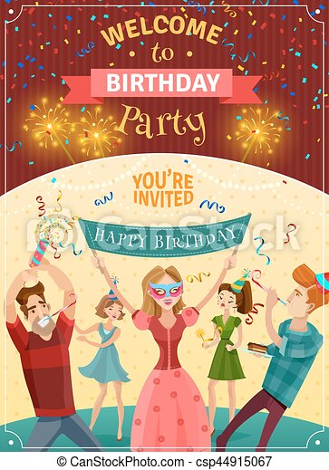 birthday party announcement invitation poster birthday party