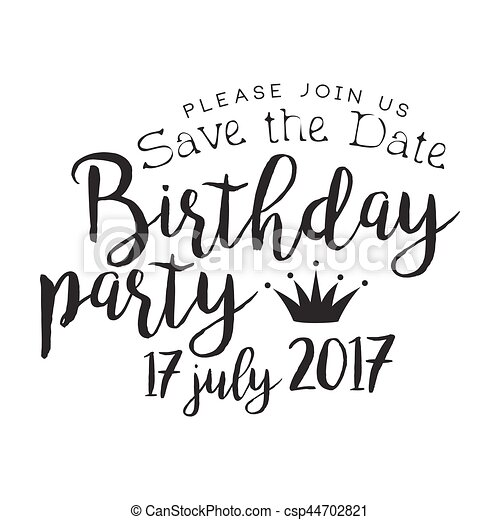 Birthday Party Black And White Invitation Card Design Template With Calligraphic Text