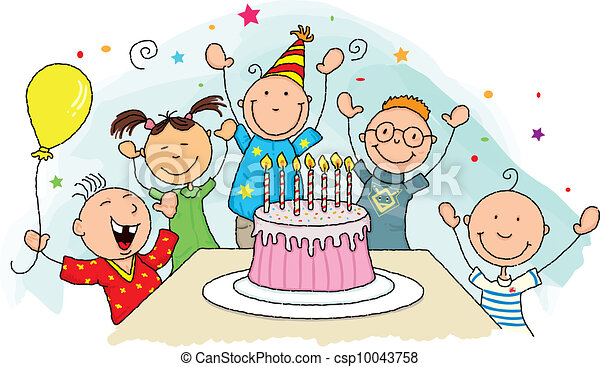 birthday party happy birthday group of young child around rh canstockphoto com birthday party clip art mary poppins birthday party clip art mary poppins