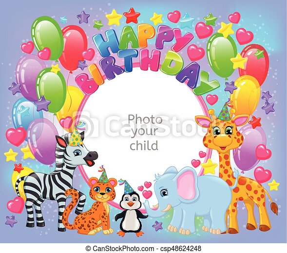 Birthday party cute animal frame your baby photo - csp48624248
