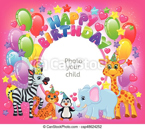 Birthday party cute animal pink frame your baby photo clipart