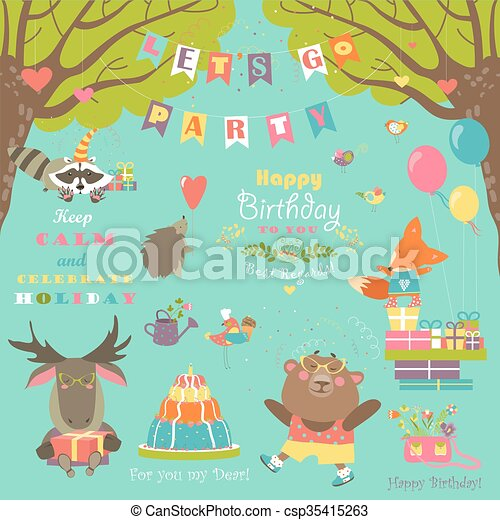 Birthday party elements with cute animals - csp35415263