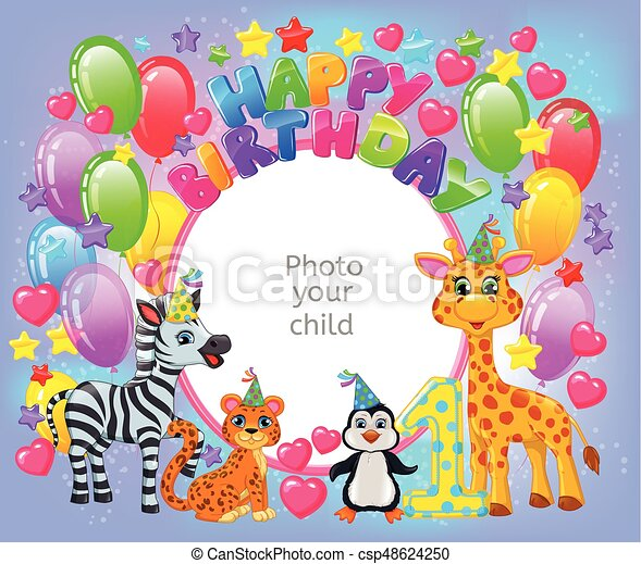 Birthday party frame your baby photo horizontal clipart vector