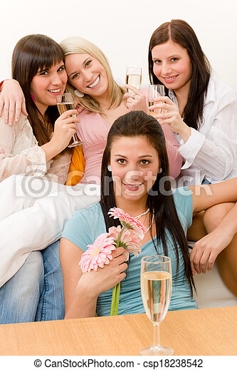 Birthday party - group of woman celebrate - csp18238542