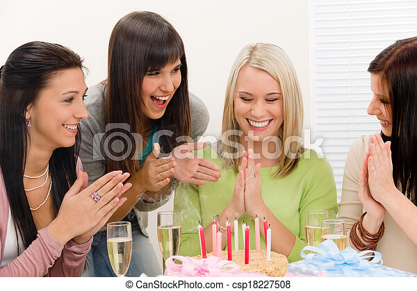 Birthday party - group of woman celebrate  - csp18227508