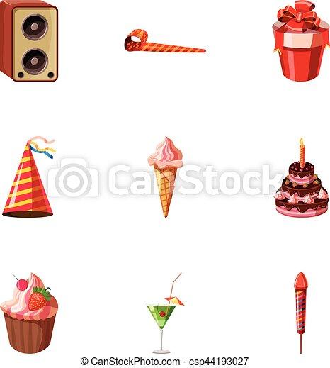 Birthday party icons set, cartoon style - csp44193027