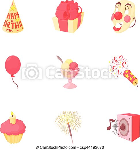 Birthday party icons set, cartoon style - csp44193070