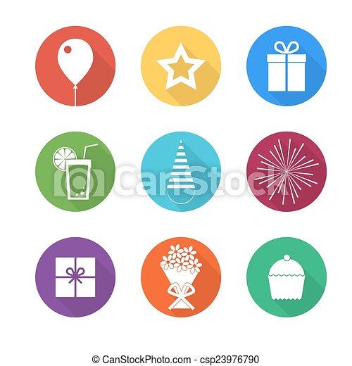 Birthday party icons set - csp23976790
