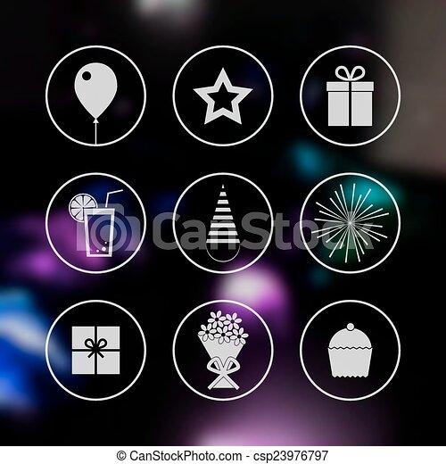 Birthday party icons set - csp23976797