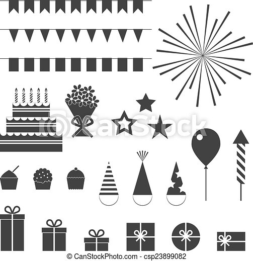 Birthday party icons set - csp23899082