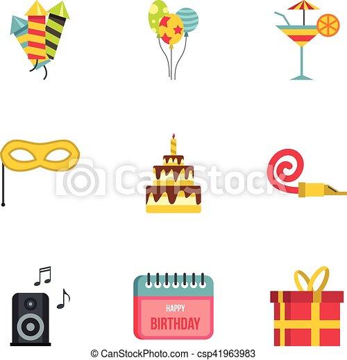 Birthday party icons set, flat style - csp41963983