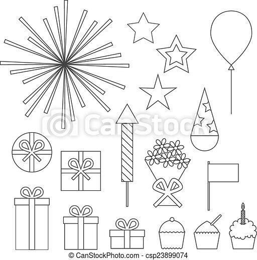 Birthday party icons set - csp23899074