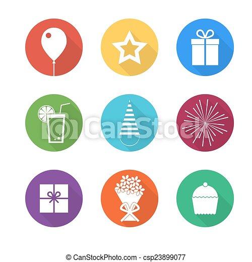 Birthday party icons set - csp23899077