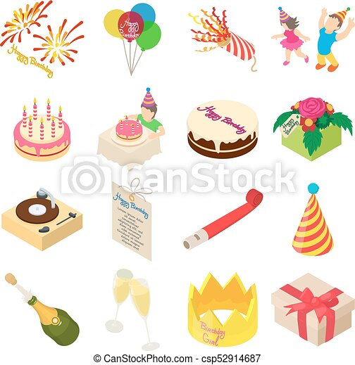 Birthday party icons set, isometric style - csp52914687