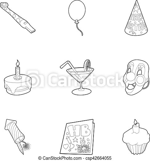 Birthday party icons set, outline style - csp42664055