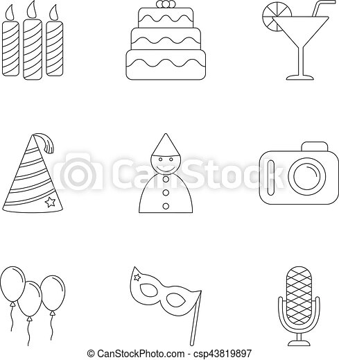 Birthday party icons set, outline style - csp43819897