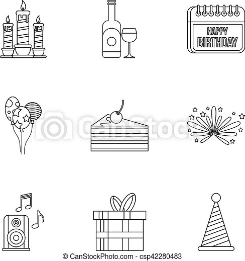 Birthday party icons set, outline style - csp42280483