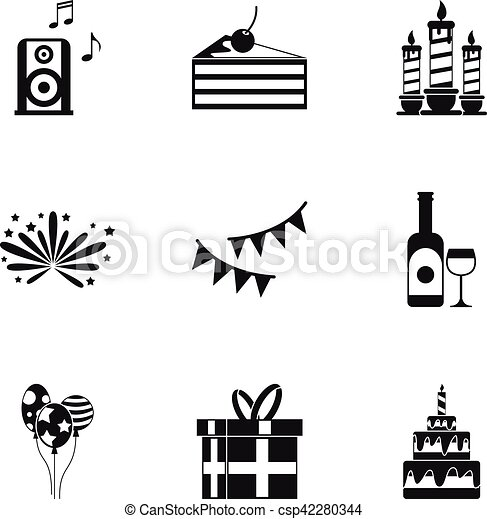 Birthday party icons set, simple style - csp42280344