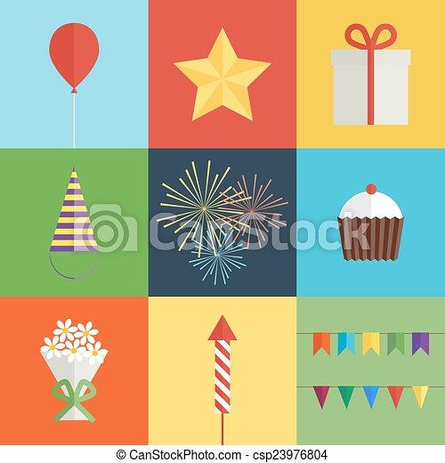 Birthday party icons set - csp23976804