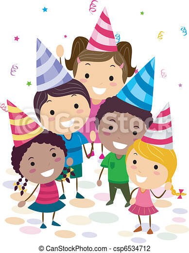 Illustration of kids in a birthday party looking up vector