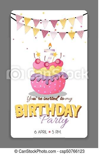 Birthday party invitation card template vector illustration ...