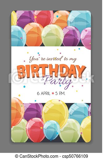 Birthday Party Invitation Card Template Vector Illustration  Birthday Party Card Template