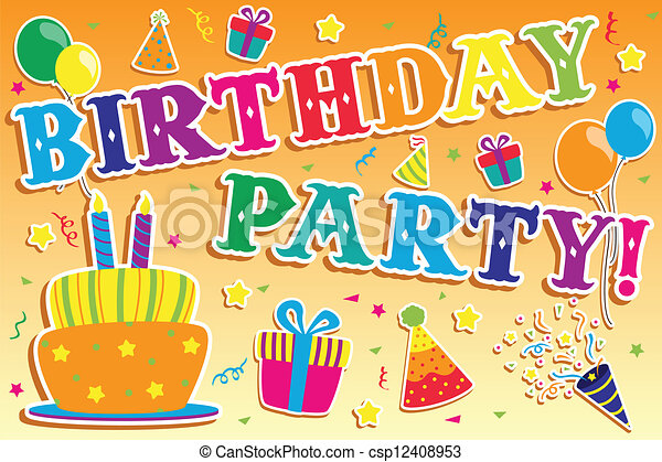birthday party invitation a vector illustration of happy birthday