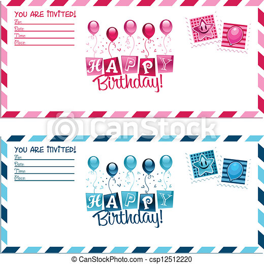 Birthday party invitation envelope vector birthday party invitation birthday party invitation envelope csp12512220 stopboris Choice Image