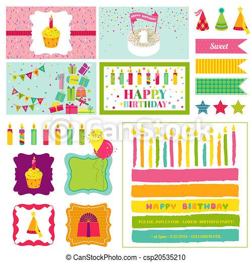 Birthday party invitation set for birthday baby shower vector