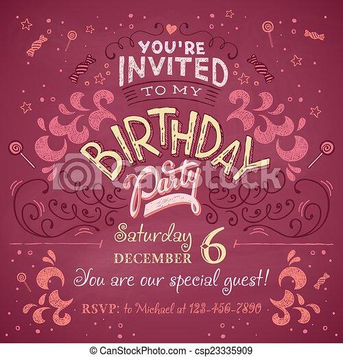 Birthday party invitation vintage birthday party invitation card birthday party invitation csp23335909 stopboris Choice Image