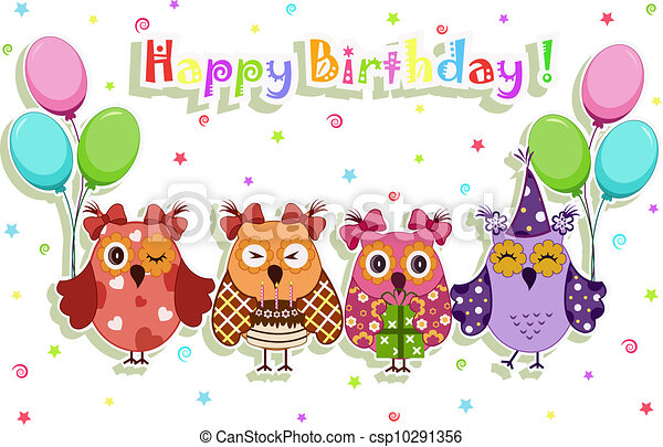 Birthday party owls set clipart vector Search Illustration