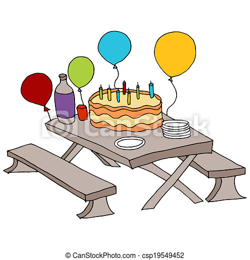 An image of a birthday party table clipart vector Search