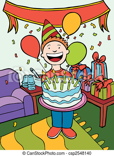 Vector Clipart of Birthday Party Time Art isolated in a hand drawn