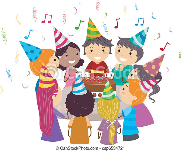 Birthday party Illustration of kids gathered around a vector