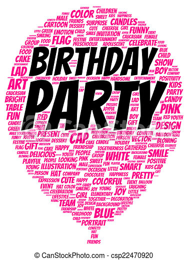 Birthday party word cloud shape concept clip art Search