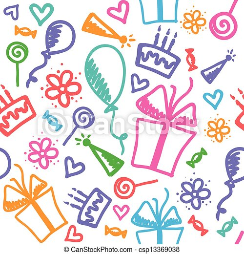 birthday pattern - csp13369038
