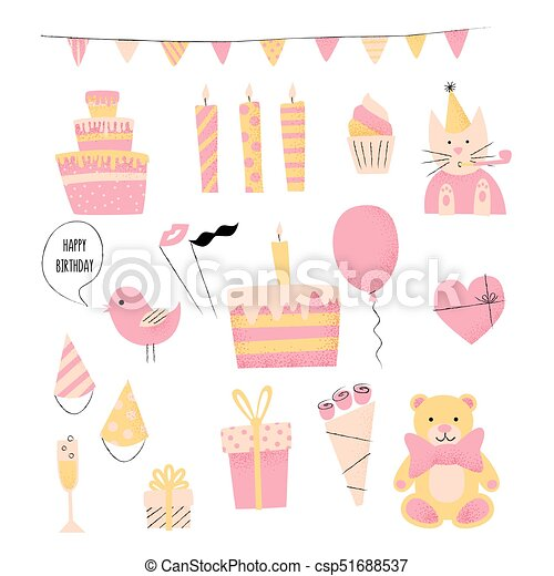 Birthday Retro Icon Set With Present Cake And Cat Happy