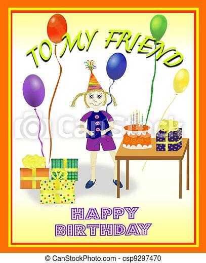 birthday scene for girl illustration of a little girl s birthday