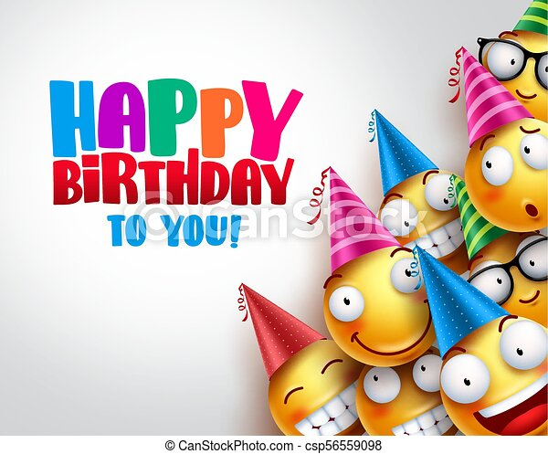 Birthday Smileys Vector Background Design With Yellow Funny And