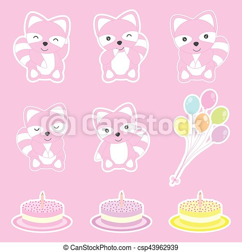 Birthday sticker set with cute raccoons, balloons, and birthday cake - csp43962939